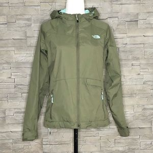 The North Face olive green rain jacket